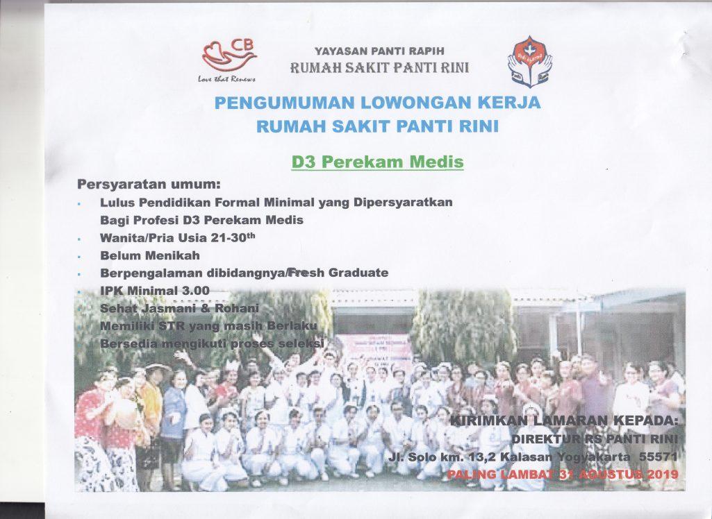 Pengumuman Lowongan Kerja Rumah Sakit Panti Rini Poltekkes Permata Indonesia Yogyakarta